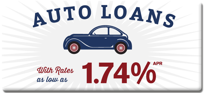 Auto Loans with Rates as low as 1.74%APR