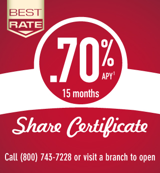 .70% APR Share Certificate
