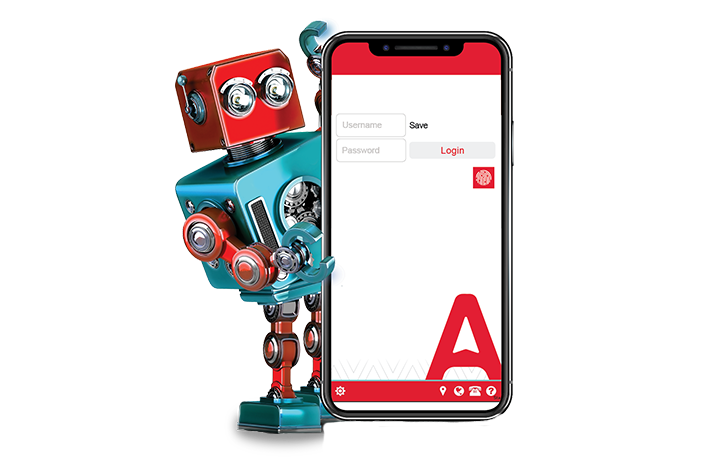 Robot holding mobile phone